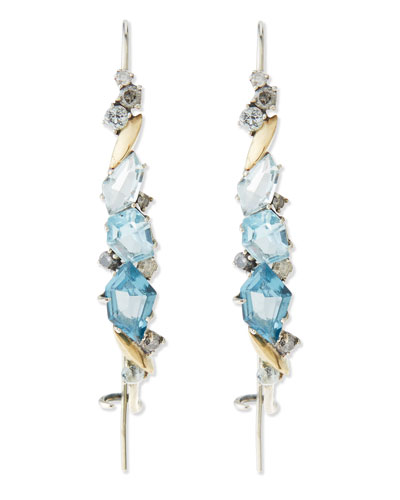 Alexis Bittar Fine Midnight Marquise Hook Earrings, Blue