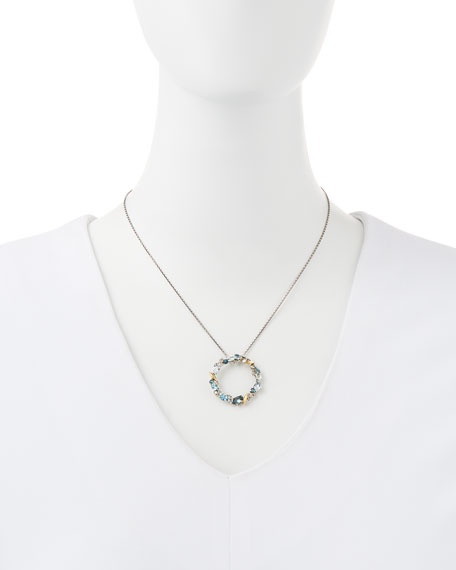 Midnight Marquise Circle Pendant Necklace