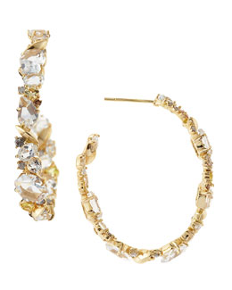 Alexis Bittar Fine 18k Golden Ice Diamond Hoop Earrings