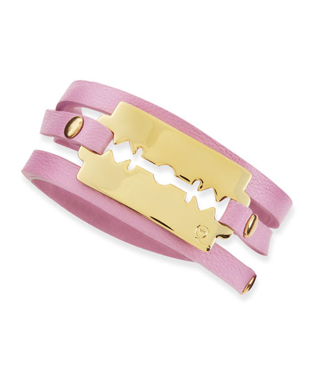 Shiny Razor-Blade Wrap Bracelet, Pale Pink