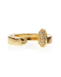 Giles & Brother Pave Railroad Spike Ring, Yellow Golden
