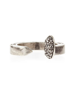 Giles & Brother Pave Railroad Spike Ring, Silvertone