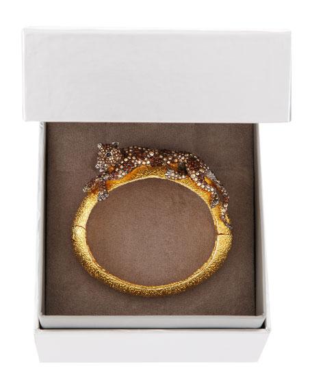 Crystal Panther Medium Cuff, Golden