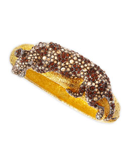 Alexis Bittar Crystal Panther Medium Cuff, Golden