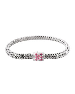John Hardy Batu Classic Chain Silver Bracelet with Pink Spinel, Size M