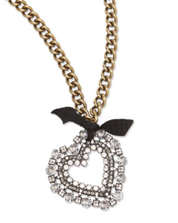 Lanvin Crystal Heart Pendant Necklace