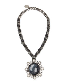 Lanvin Woven Chain Cabochon & Crystal Pendant Necklace