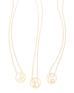 K Kane Mini Single Initial Necklace, Yellow Gold, 18""