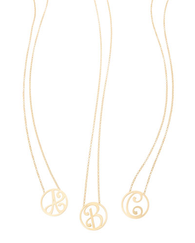 Mini Single Initial Necklace, Yellow Gold, 18