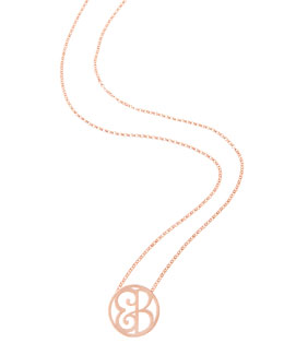 K Kane Mini 2-Initial Monogram Necklace, Rose Gold, 18""