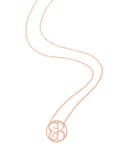 Mini 2-Initial Monogram Necklace, Rose Gold, 18""