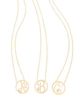 K Kane Mini Single Initial Diamond Necklace, Yellow Gold, 18""