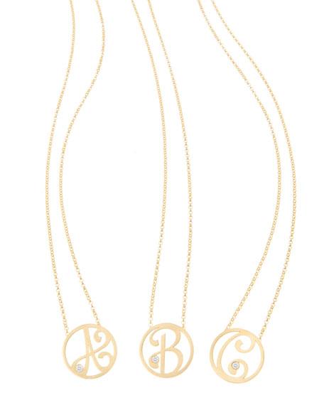 K Kane Mini Single Initial Diamond Necklace, Yellow