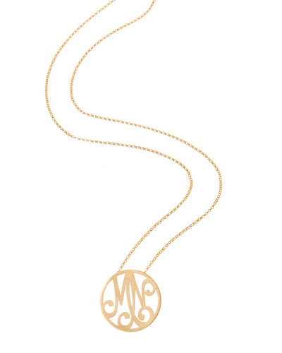 Small 2-Initial Monogram Necklace, Yellow Gold, 18""