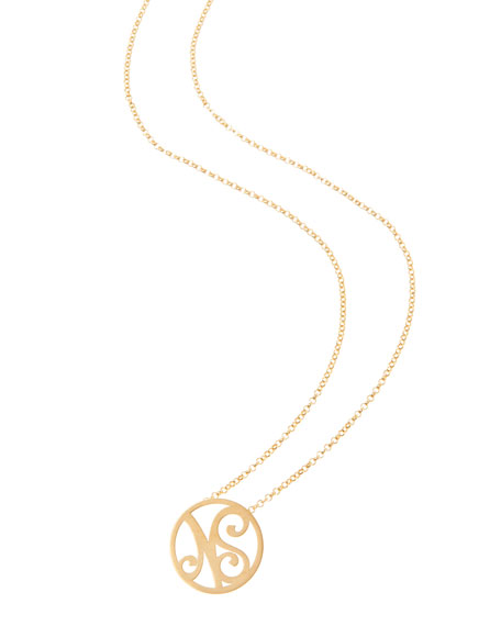 K Kane Mini 2-Initial Monogram Necklace, Yellow Gold,