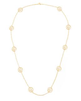 K Kane 2-Initial Monogram Station Necklace, Yellow Gold, 34""