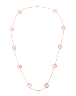 K Kane 2-Initial Monogram Station Necklace, Rose Gold, 34""