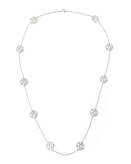 "2-Initial Monogram Station Necklace, Rhodium Silver, 34"""