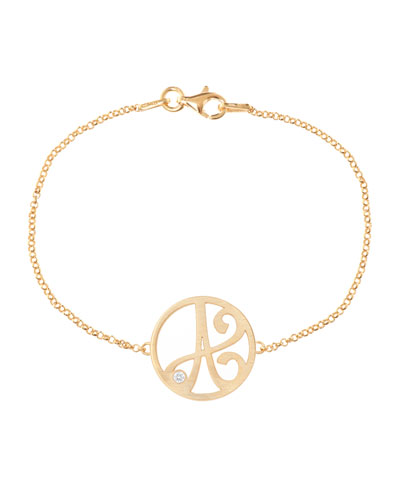 Mini Single Initial Diamond Bracelet, Yellow Gold