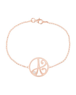 K Kane Mini Single Initial Diamond Bracelet, Rose Gold