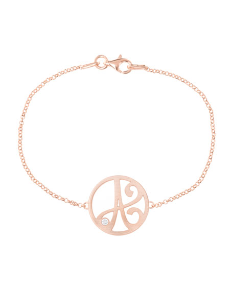 K Kane Mini Single Initial Diamond Bracelet, Rose