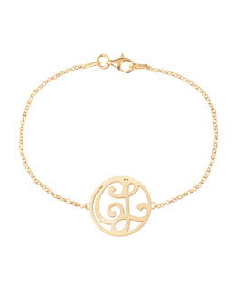 K Kane Mini 2-Initial Monogram Bracelet, Yellow Gold