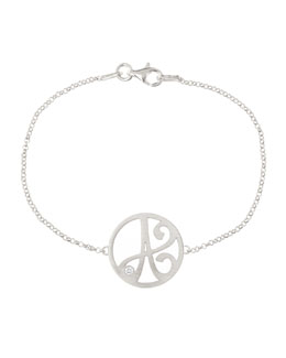 K Kane Mini Single Initial Diamond Bracelet, Rhodium Silver