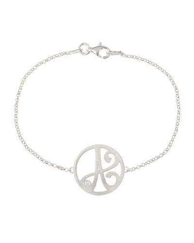 K Kane Mini Single Initial Diamond Bracelet, Rhodium