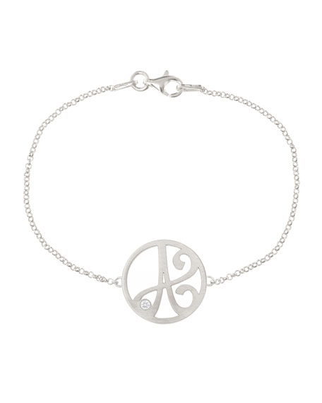 K Kane Mini Single Initial Diamond Bracelet, Rhodium
