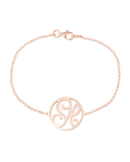 K Kane Mini 2-Initial Monogram Bracelet, Rose Gold