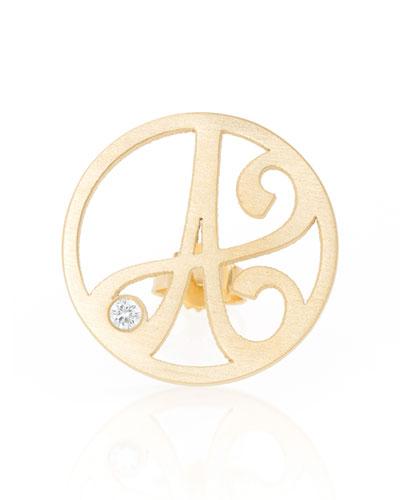 K Kane Left Singular Mini One-Initial Diamond Stud Earring, Yellow Gold
