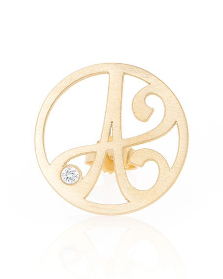 Left Singular Mini One-Initial Diamond Stud Earring, Yellow Gold