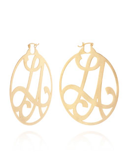 K Kane Medium 2-Initial Monogram Hoop Earrings, Yellow Gold