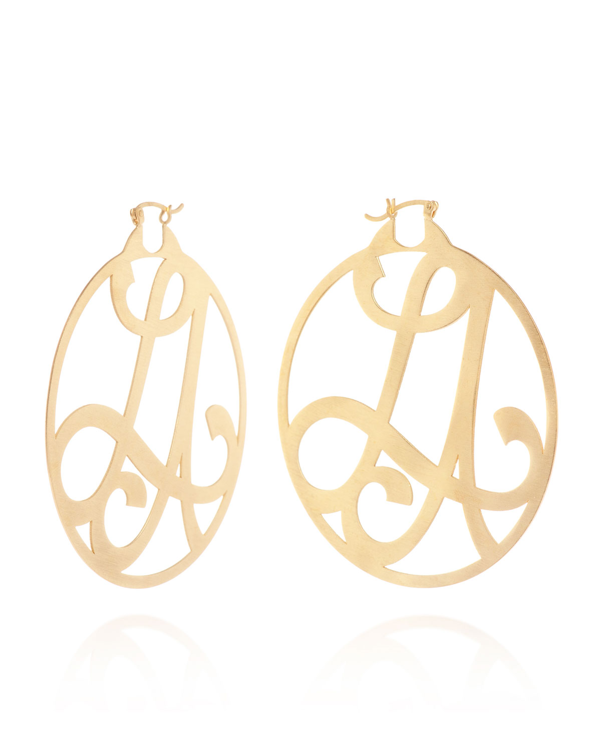 Medium 2 Initial Monogram Hoop Earrings Yellow Gold