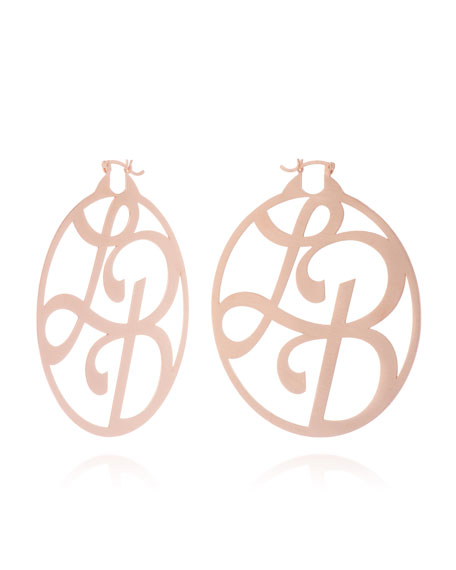 Medium 2-Initial Monogram Hoop Earrings, Rose Gold