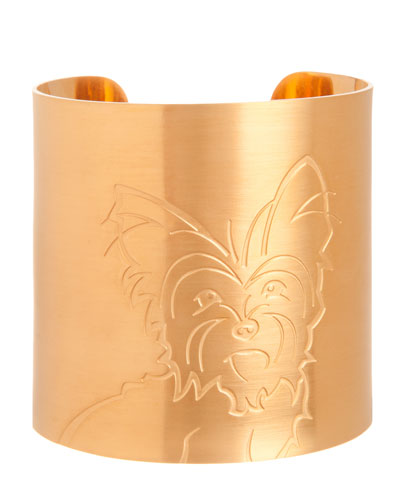 18k Gold-Plated Yorkie Dog Cuff