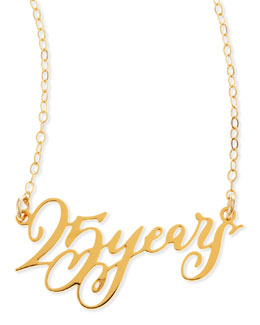 Brevity 25 Years Anniversary Calligraphy Necklace