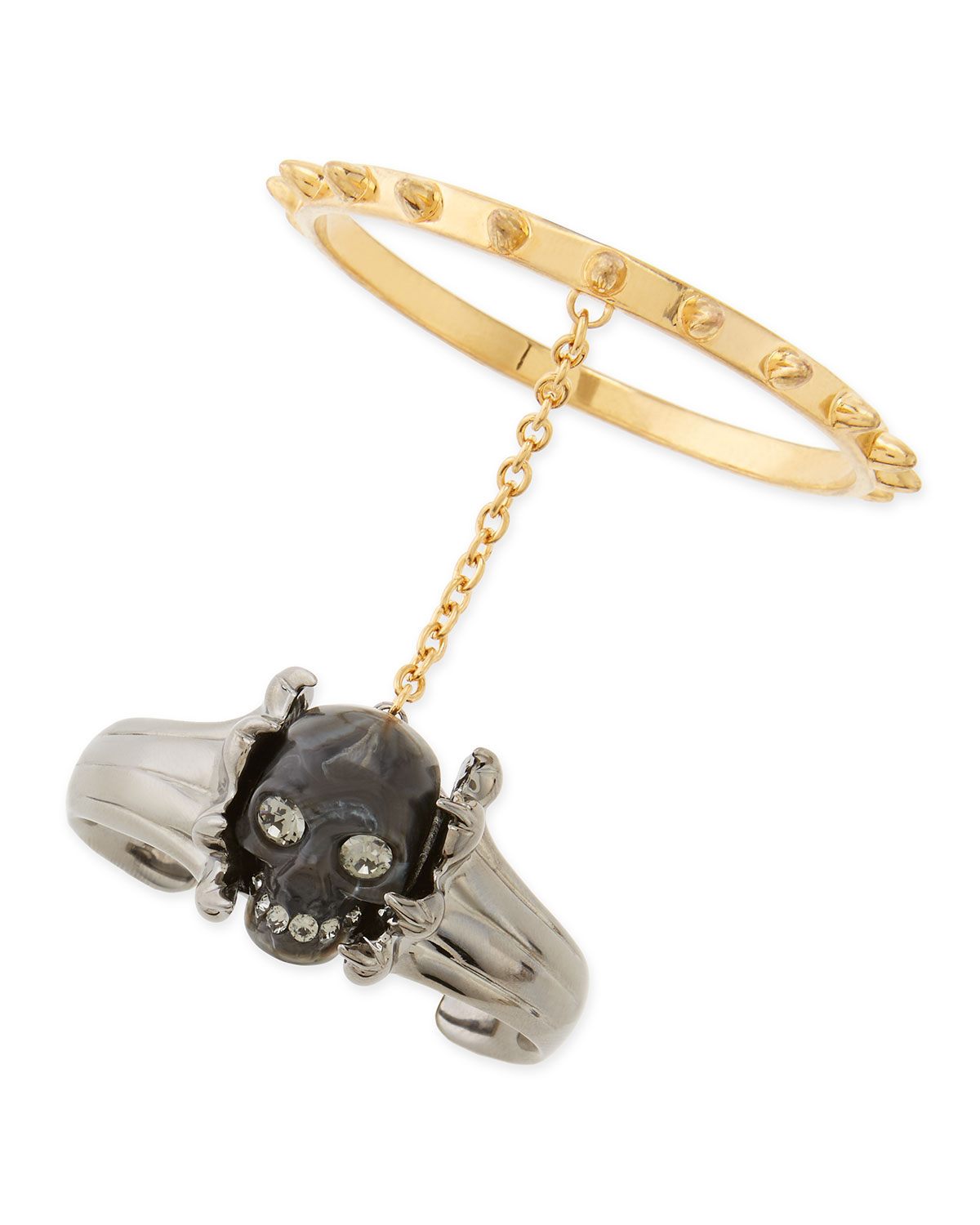 Skull Claw Double Bracelet, Black/Gold