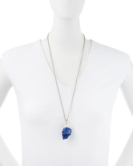 Plexi Punk Skull Pendant Necklace, Blue/Silvertone