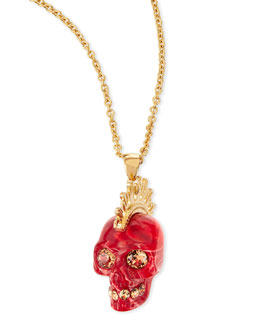 Alexander McQueen Plexi Punk Skull Pendant Necklace, Red/Golden