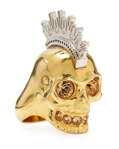 Alexander McQueen Two-Tone Punk Skull Ring