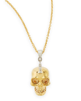 Alexander McQueen Golden Punk Skull Pendant Necklace, 28""