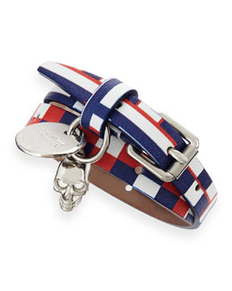 Alexander McQueen Printed Leather Wrap Bracelet, Red/White/Blue