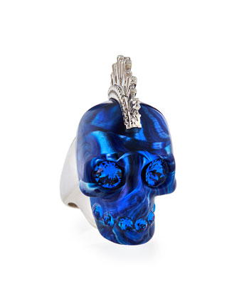 Alexander McQueen Plexi Punk Skull Ring, Blue/Silvertone