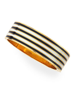 kate spade new york striped no strings attached bangle, black/white