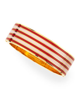 kate spade new york striped no strings attached bangle, maraschino red/pink