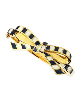 kate spade new york finishing touch striped bow bangle, black/white