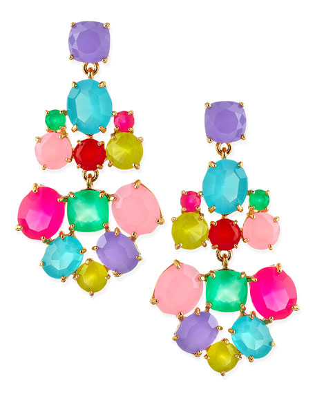 faceted crystal earrings, multicolor