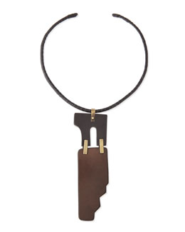 Donna Karan Two-Piece Puzzle Choker Necklace, Brown/Luggage