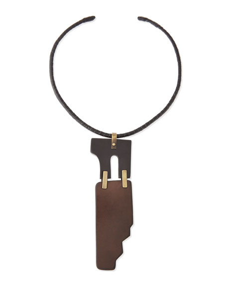 Two-Piece Puzzle Choker Necklace, Brown/Luggage